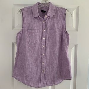 Talbots Linen lilac sleeveless collared top new